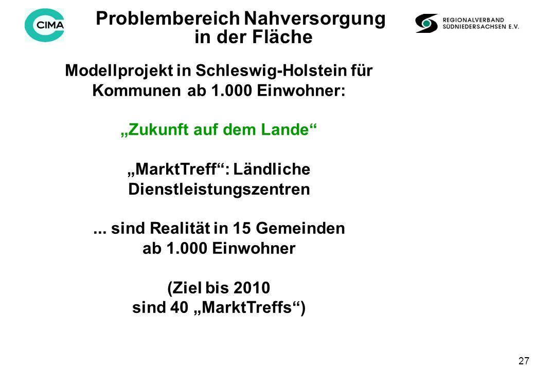 27 Modellprojekt in Schleswig-Holstein für Kommunen ab 1.000 Einwohner: Zukunft auf dem Lande MarktTreff: Ländliche Dienstleistungszentren...