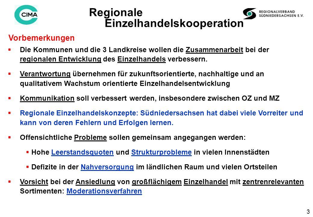3 Vorbemerkungen Regionale Einzelhandelskooperation Die Kommunen und die 3 Landkreise wollen die Zusammenarbeit bei der regionalen Entwicklung des Einzelhandels verbessern.