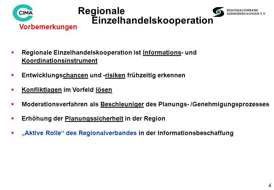 4 Vorbemerkungen Regionale Einzelhandelskooperation Regionale Einzelhandelskooperation ist Informations- und Koordinationsinstrument Entwicklungschancen und -risiken frühzeitig erkennen Konfliktlagen im Vorfeld lösen Moderationsverfahren als Beschleuniger des Planungs- /Genehmigungsprozesses Erhöhung der Planungssicherheit in der Region Aktive Rolle des Regionalverbandes in der Informationsbeschaffung