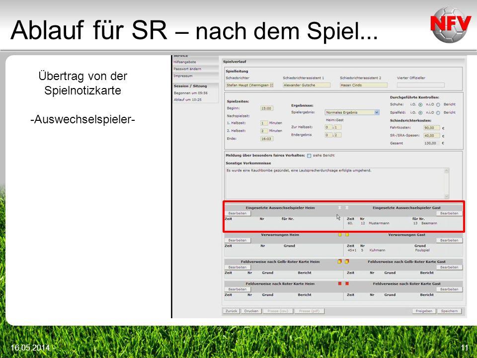 Ablauf für SR – nach dem Spiel... 16.05.201411 Übertrag von der Spielnotizkarte -Auswechselspieler-