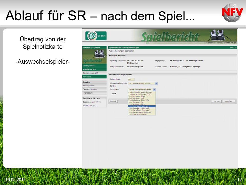 Ablauf für SR – nach dem Spiel... 16.05.201412 Übertrag von der Spielnotizkarte -Auswechselspieler-