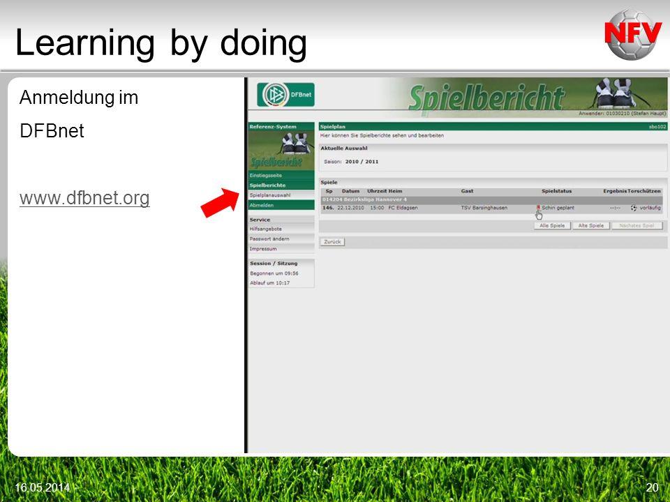 Learning by doing Anmeldung im DFBnet www.dfbnet.org 16.05.201420