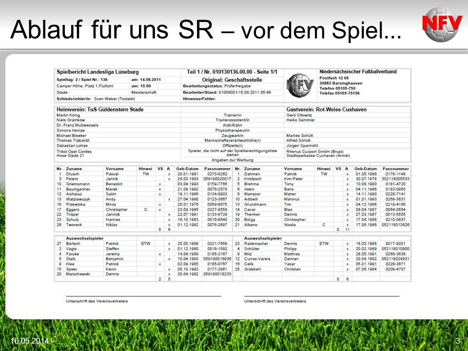 Ablauf für uns SR – vor dem Spiel... 16.05.20143