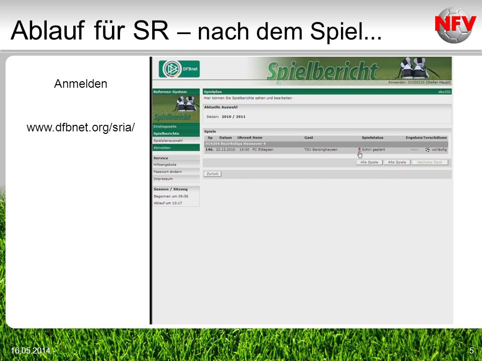 Ablauf für SR – nach dem Spiel... 16.05.20145 Anmelden www.dfbnet.org/sria/