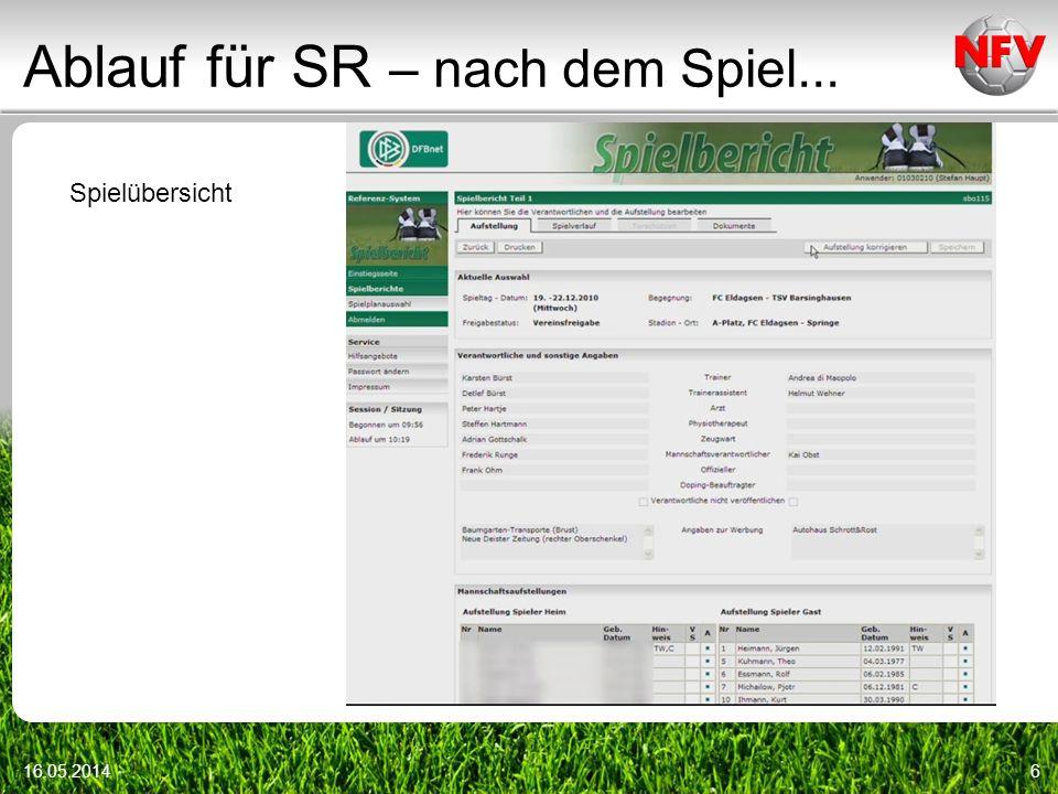 Ablauf für SR – nach dem Spiel... 16.05.20146 Spielübersicht