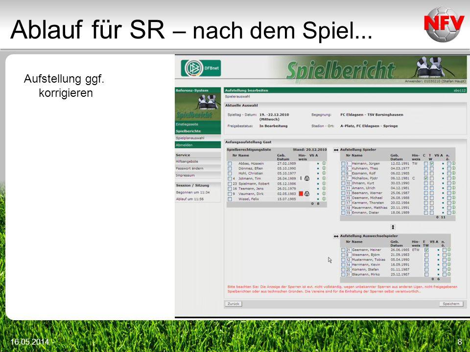Ablauf für SR – nach dem Spiel... 16.05.201419 Übertrag von der Spielnotizkarte -Torschützen-