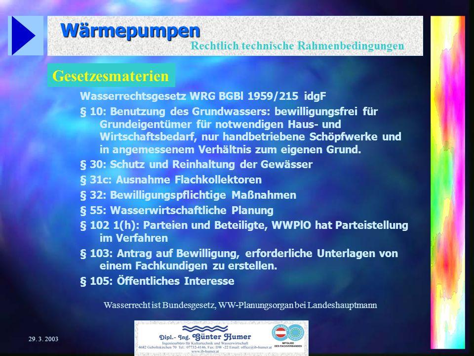Wärmepumpen Rechtlich technische Rahmenbedingungen 29. 3. 2003 Anlagenarten