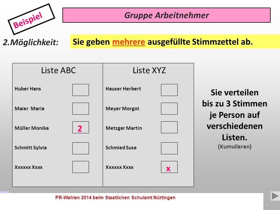 PR-Wahlen 2014 beim Staatlichen Schulamt Nürtingen 10 Liste ABC Huber Hans Maier Maria Müller Monika Schmitt Sylvia Gruppe Arbeitnehmer Beispiel 1.Möglichkeit: Sie verteilen bis zu 3 Stimmen je Person.