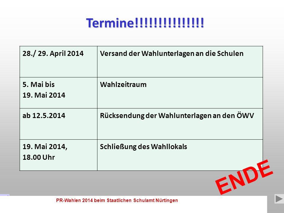 PR-Wahlen 2014 beim Staatlichen Schulamt Nürtingen 16 3.