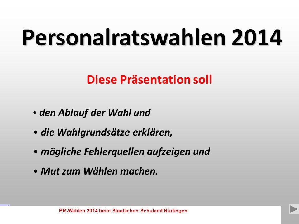 PR-Wahlen 2014 beim Staatlichen Schulamt Nürtingen 1 Präsentationsdauer: START: Die Präsentation ist selbsterklärend und läuft automatisch.