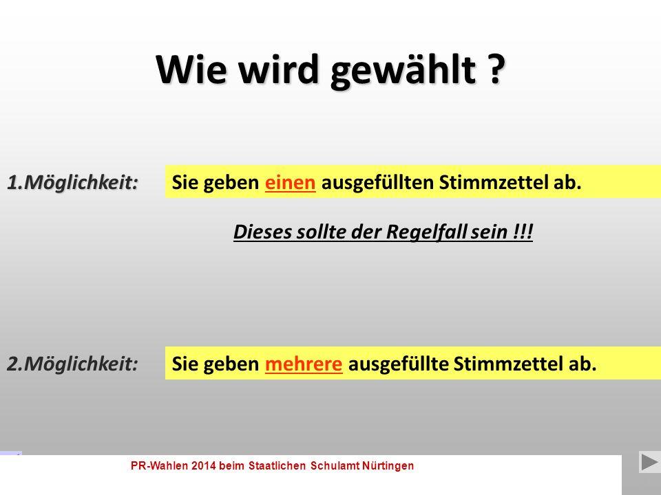 PR-Wahlen 2014 beim Staatlichen Schulamt Nürtingen 6 Zahl der zu wählenden Mitglieder: Gruppe der Arbeitnehmer Gruppe der Beamten 2 Sitze 17 Sitze Hauptpersonalrat (HPR) 19 17 Stimmen 2 Stimmen Diese Erklärung finden Sie nochmals auf jedem Stimmzettel.