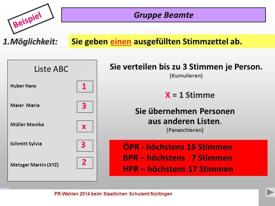 PR-Wahlen 2014 beim Staatlichen Schulamt Nürtingen 7 Wie wird gewählt .