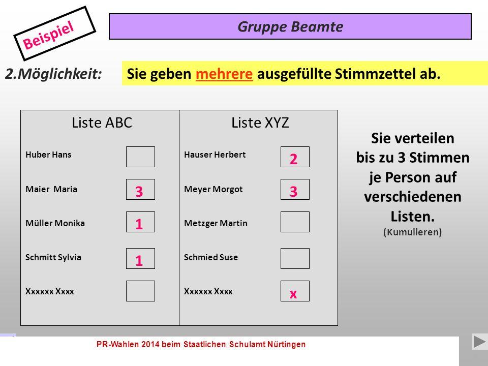 PR-Wahlen 2014 beim Staatlichen Schulamt Nürtingen 8 Liste ABC Huber Hans Maier Maria Müller Monika Schmitt Sylvia Gruppe Beamte Beispiel 1.Möglichkeit: Sie verteilen bis zu 3 Stimmen je Person.