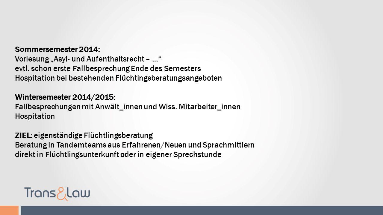 Refugee Law Clinic Leipzig Sommersemester 2014: Vorlesung Asyl- und Aufenthaltsrecht – … evtl. schon erste Fallbesprechung Ende des Semesters Hospitat