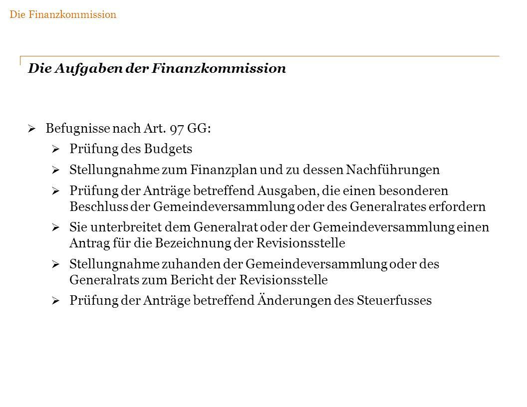 Die Aufgaben der Finanzkommission Befugnisse nach Art.