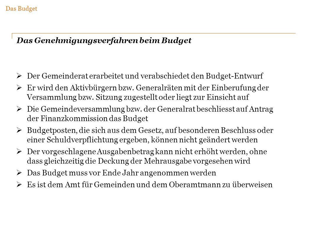 Das Genehmigungsverfahren beim Budget Der Gemeinderat erarbeitet und verabschiedet den Budget-Entwurf Er wird den Aktivbürgern bzw.