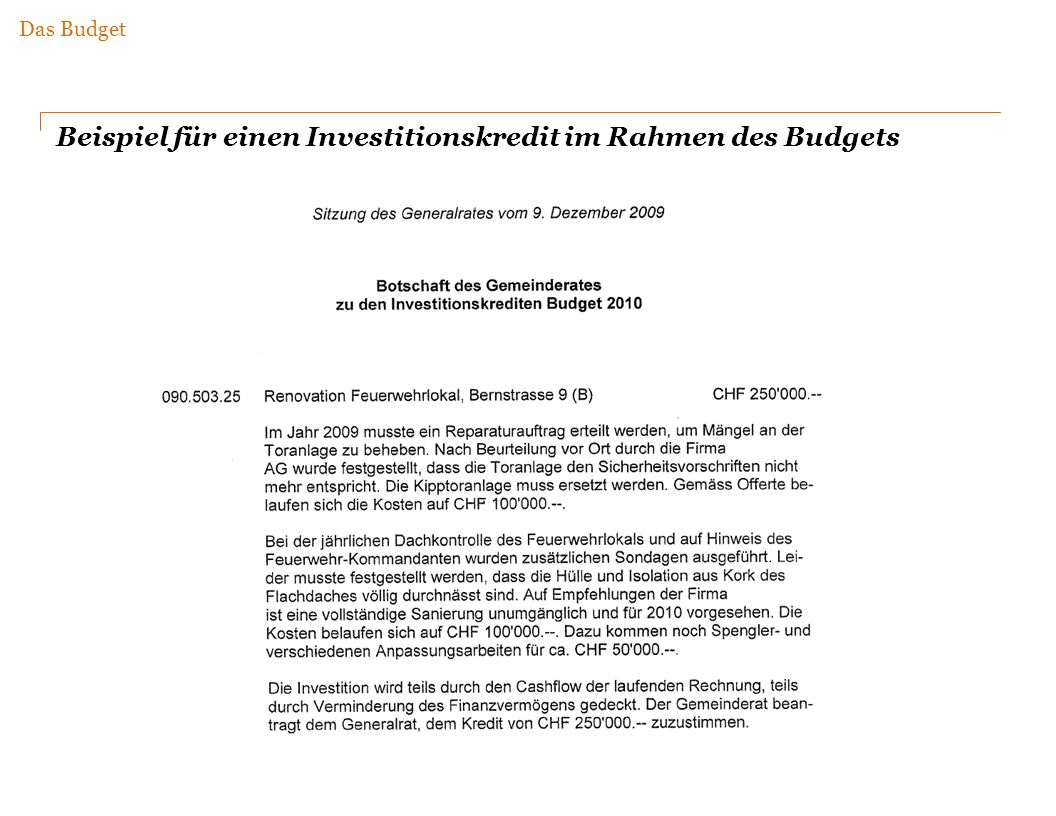 Beispiel für einen Investitionskredit im Rahmen des Budgets Das Budget
