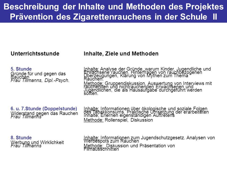 Beschreibung der Inhalte und Methoden des Projektes Prävention des Zigarettenrauchens in der Schule II UnterrichtsstundeInhalte, Ziele und Methoden 5.