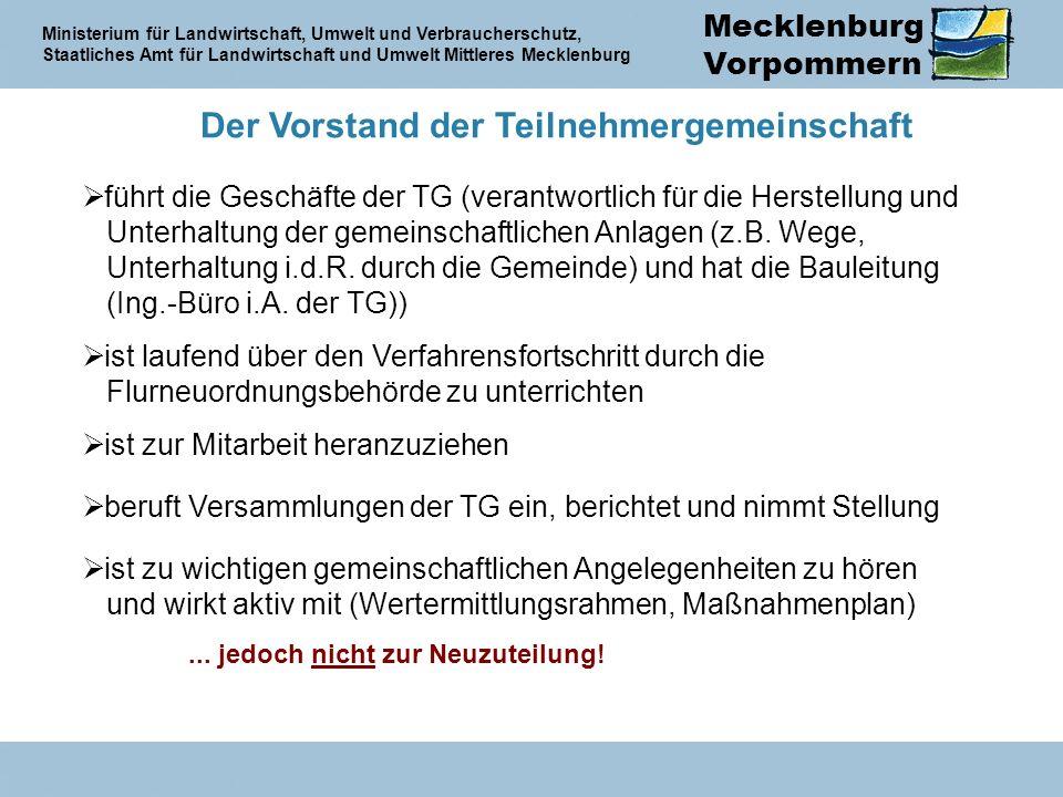 Mecklenburg Vorpommern Ministerium für Landwirtschaft, Umwelt und Verbraucherschutz, Staatliches Amt für Landwirtschaft und Umwelt Mittleres Mecklenburg Der Vorstand der Teilnehmergemeinschaft führt die Geschäfte der TG (verantwortlich für die Herstellung und Unterhaltung der gemeinschaftlichen Anlagen (z.B.
