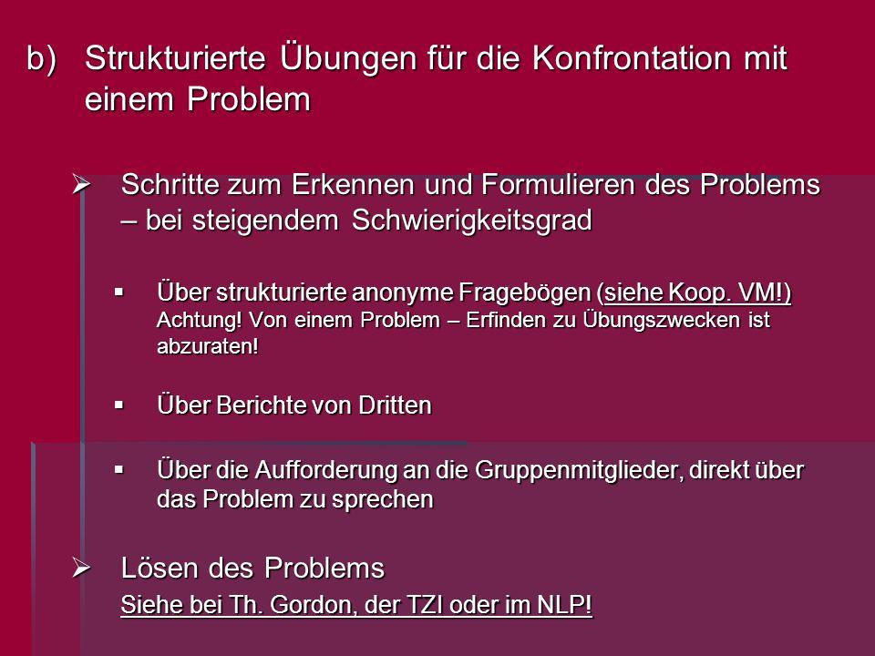 b)Strukturierte Übungen für die Konfrontation mit einem Problem Schritte zum Erkennen und Formulieren des Problems – bei steigendem Schwierigkeitsgrad