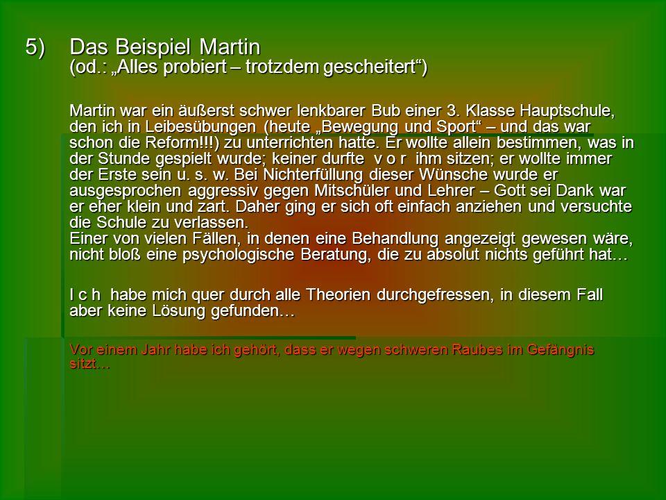 5)D as Beispiel Martin (od.: Alles probiert – trotzdem gescheitert) Martin war ein äußerst schwer lenkbarer Bub einer 3. Klasse Hauptschule, den ich i