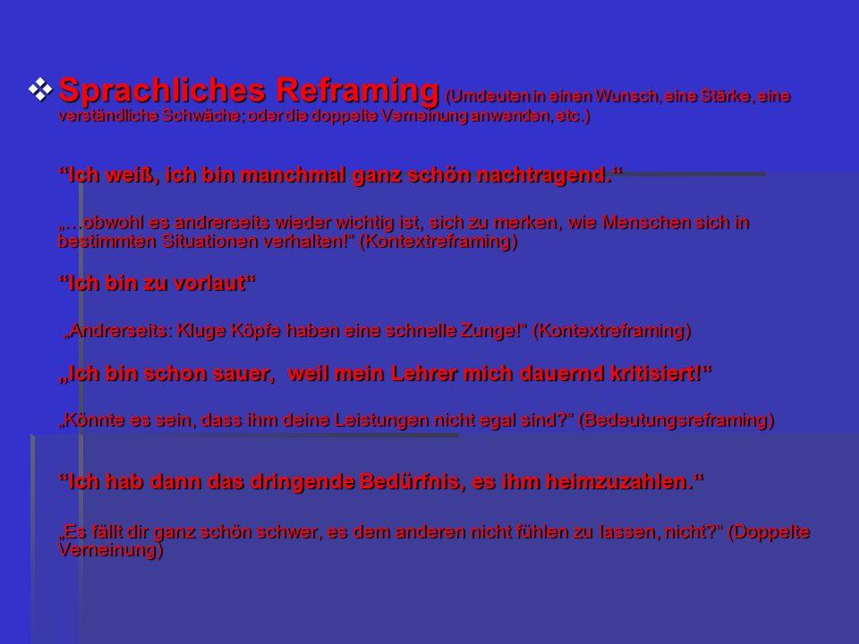 Sprachliches Reframing (Umdeuten in einen Wunsch, eine Stärke, eine verständliche Schwäche; oder die doppelte Verneinung anwenden, etc.) Sprachliches