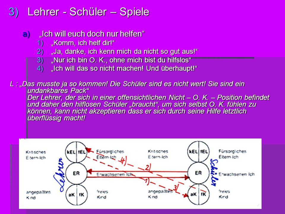 3)L ehrer - Schüler – Spiele a) Ich will euch doch nur helfen 1) Komm, ich helf dir! 2) Ja, danke, ich kenn mich da nicht so gut aus! 3) Nur ich bin O