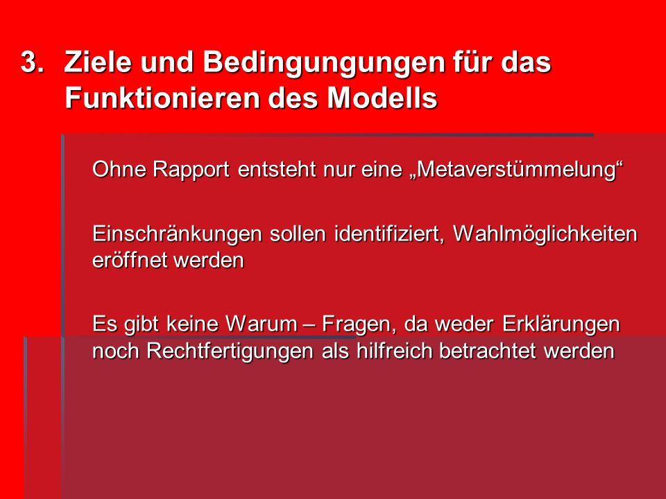 3.Ziele und Bedingungungen für das Funktionieren des Modells Ohne Rapport entsteht nur eine Metaverstümmelung Einschränkungen sollen identifiziert, Wa