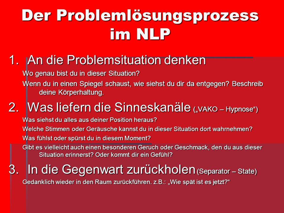 Der Problemlösungsprozess im NLP 1.An die Problemsituation denken Wo genau bist du in dieser Situation? Wenn du in einen Spiegel schaust, wie siehst d