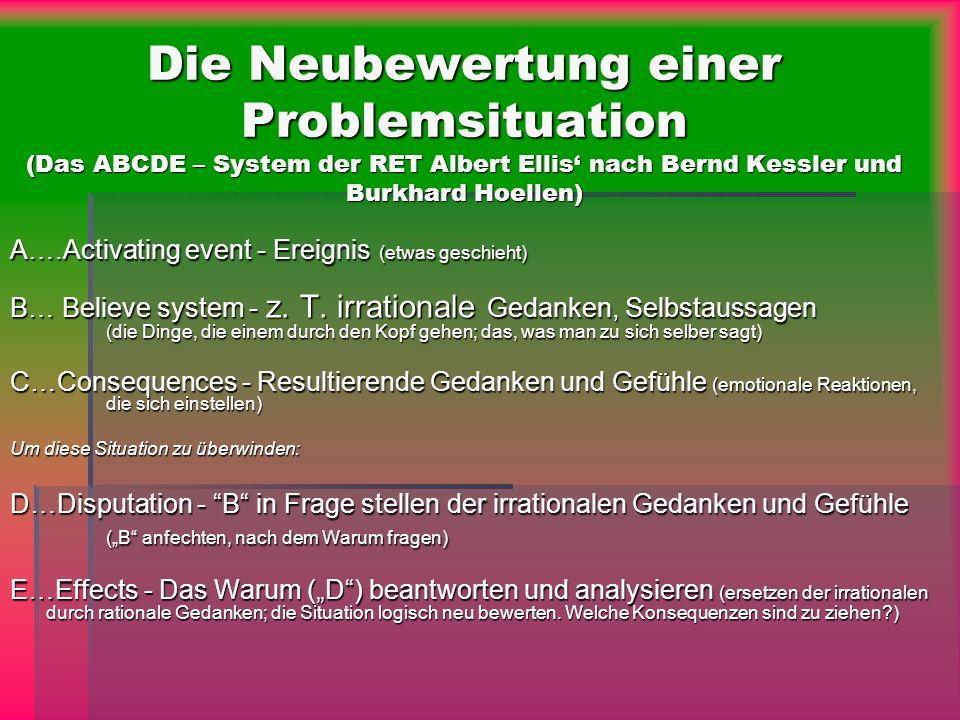 Die Neubewertung einer Problemsituation (Das ABCDE – System der RET Albert Ellis nach Bernd Kessler und Burkhard Hoellen) A….Activating event - Ereign