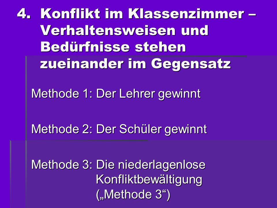 Methode 1: Der Lehrer gewinnt Methode 2: Der Schüler gewinnt Methode 3: Die niederlagenlose Konfliktbewältigung (Methode 3) 4.Konflikt im Klassenzimme