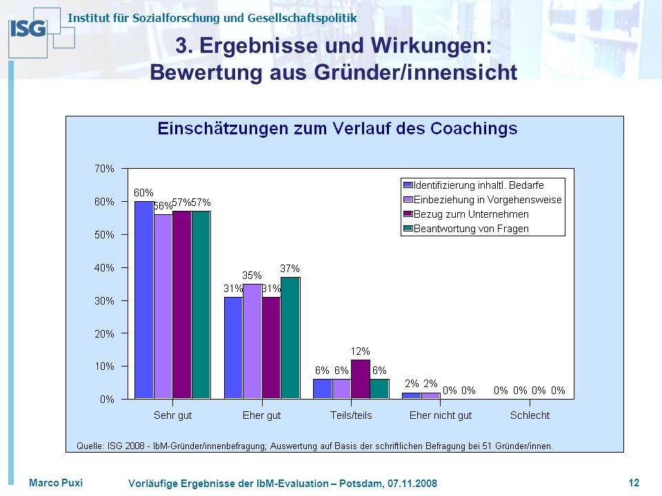 Institut für Sozialforschung und Gesellschaftspolitik Marco Puxi Vorläufige Ergebnisse der IbM-Evaluation – Potsdam, 07.11.2008 12 3. Ergebnisse und W