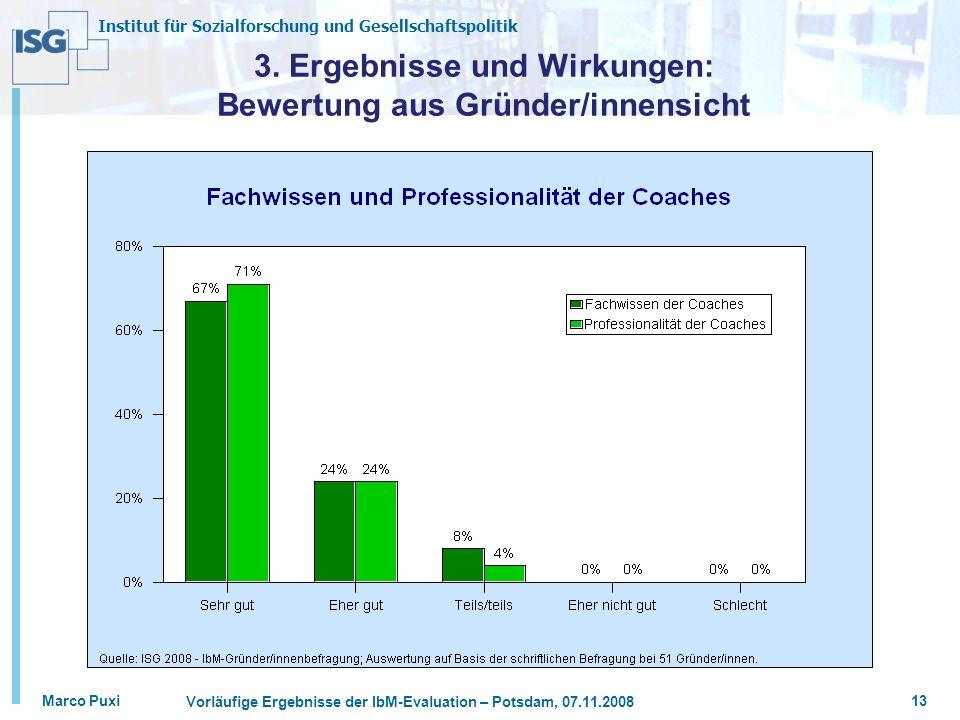Institut für Sozialforschung und Gesellschaftspolitik Marco Puxi Vorläufige Ergebnisse der IbM-Evaluation – Potsdam, 07.11.2008 13 3. Ergebnisse und W