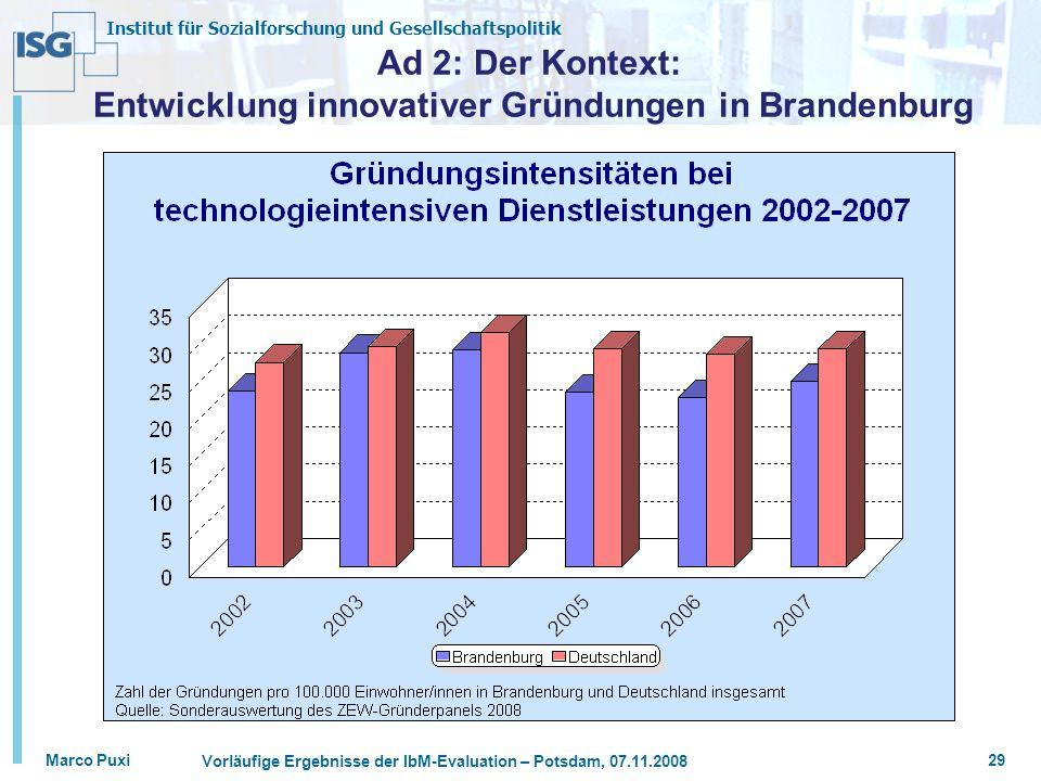 Institut für Sozialforschung und Gesellschaftspolitik Marco Puxi Vorläufige Ergebnisse der IbM-Evaluation – Potsdam, 07.11.2008 29 Ad 2: Der Kontext: