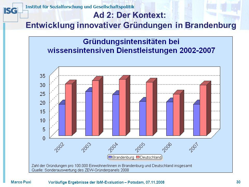 Institut für Sozialforschung und Gesellschaftspolitik Marco Puxi Vorläufige Ergebnisse der IbM-Evaluation – Potsdam, 07.11.2008 30 Ad 2: Der Kontext: