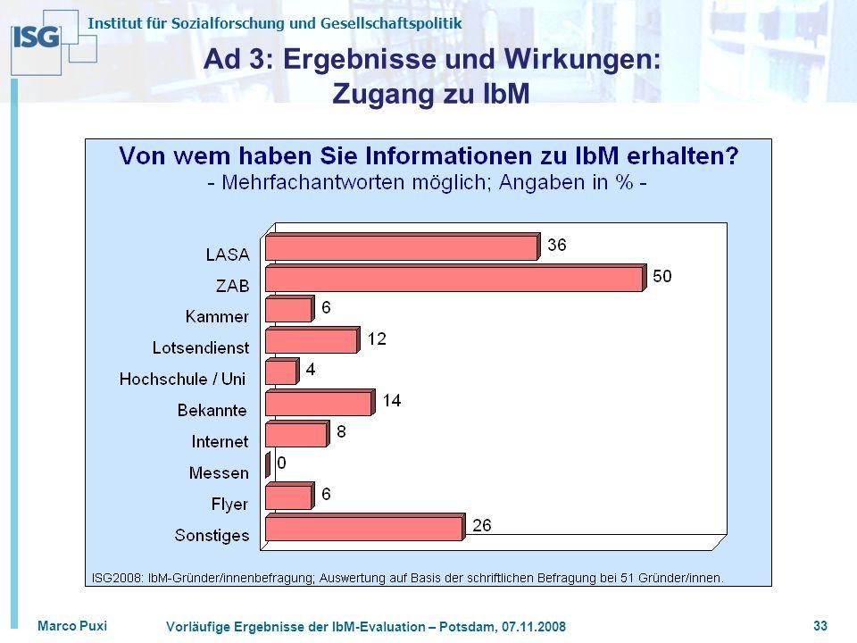 Institut für Sozialforschung und Gesellschaftspolitik Marco Puxi Vorläufige Ergebnisse der IbM-Evaluation – Potsdam, 07.11.2008 33 Ad 3: Ergebnisse und Wirkungen: Zugang zu IbM
