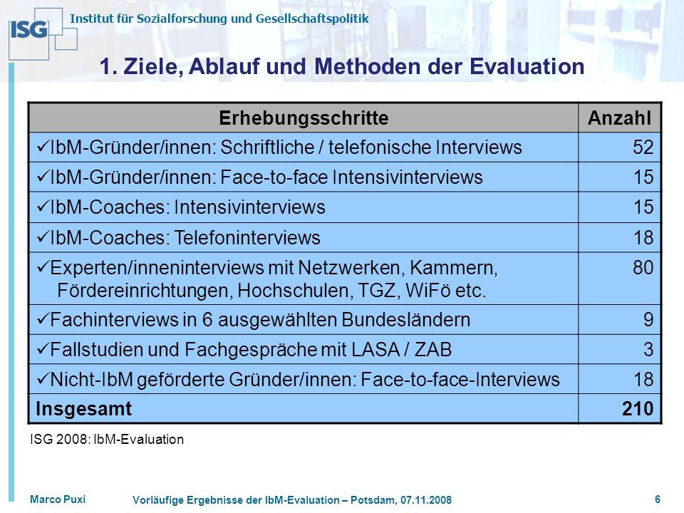 Institut für Sozialforschung und Gesellschaftspolitik Marco Puxi Vorläufige Ergebnisse der IbM-Evaluation – Potsdam, 07.11.2008 6 1. Ziele, Ablauf und