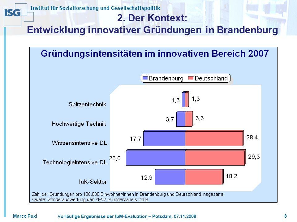 Institut für Sozialforschung und Gesellschaftspolitik Marco Puxi Vorläufige Ergebnisse der IbM-Evaluation – Potsdam, 07.11.2008 8 2.