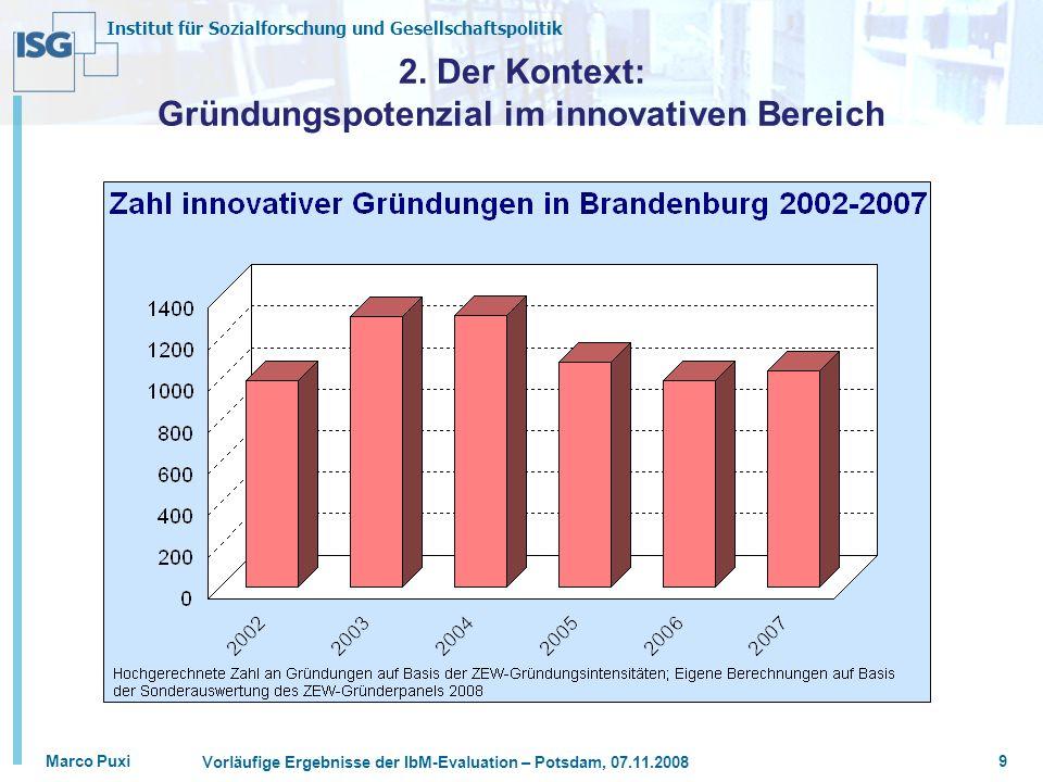 Institut für Sozialforschung und Gesellschaftspolitik Marco Puxi Vorläufige Ergebnisse der IbM-Evaluation – Potsdam, 07.11.2008 9 2. Der Kontext: Grün