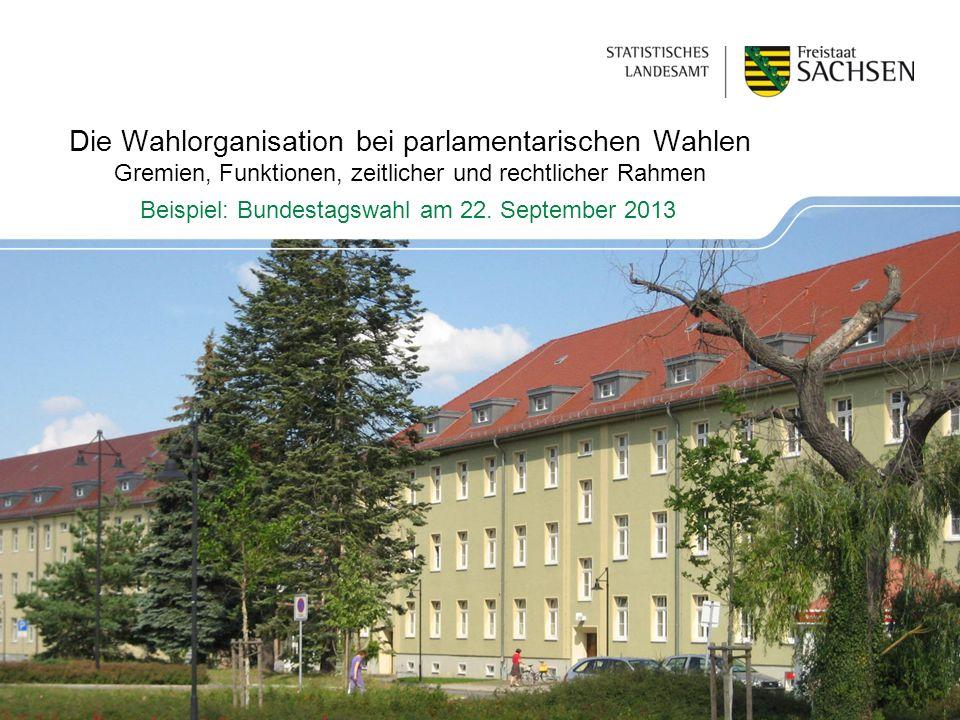 Die Wahlorganisation bei parlamentarischen Wahlen Gremien, Funktionen, zeitlicher und rechtlicher Rahmen Beispiel: Bundestagswahl am 22.