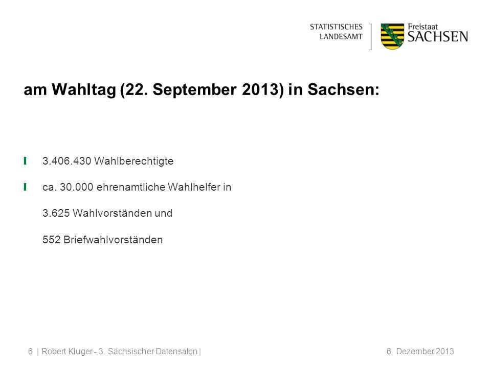 | Robert Kluger - 3.Sächsischer Datensalon | 6. Dezember 20136 am Wahltag (22.