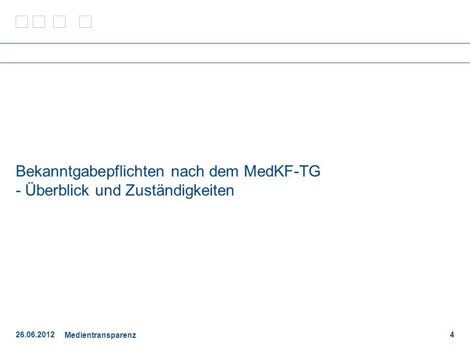 26.06.2012 Medientransparenz 15 FAQ - Themen Generelle Bekanntgabepflicht in Bezug auf Beilagen und Sondertitel zu periodischen Druckwerken.