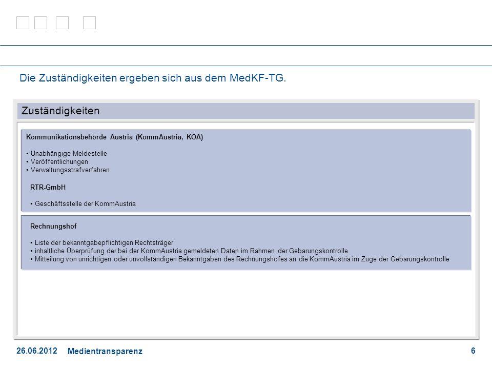 26.06.2012 Medientransparenz 7 Inhaltliche Bekanntgabepflichten