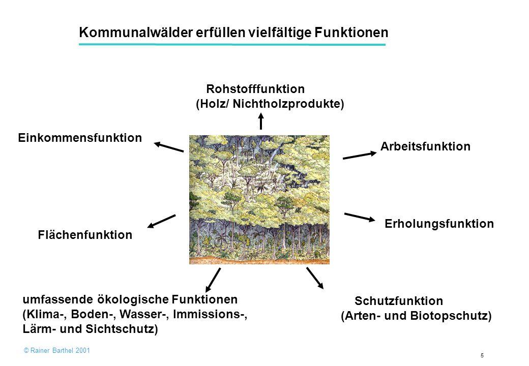 5 Kommunalwälder erfüllen vielfältige Funktionen Einkommensfunktion Schutzfunktion (Arten- und Biotopschutz) Flächenfunktion Arbeitsfunktion umfassende ökologische Funktionen (Klima-, Boden-, Wasser-, Immissions-, Lärm- und Sichtschutz) Erholungsfunktion Rohstofffunktion (Holz/ Nichtholzprodukte) © Rainer Barthel 2001
