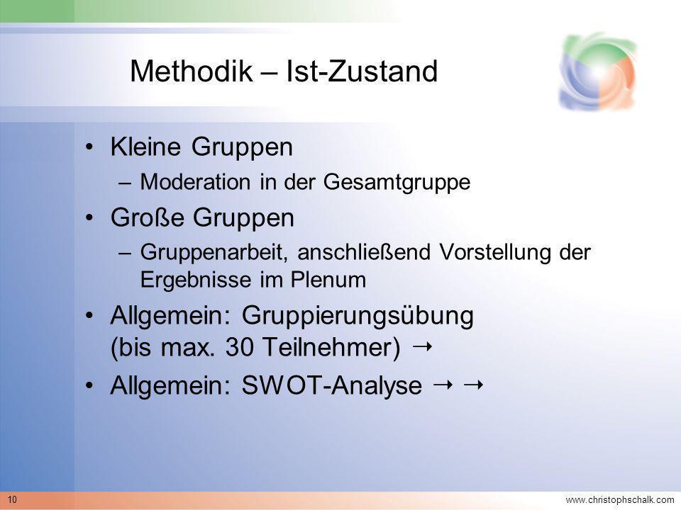 www.christophschalk.com 10 Methodik – Ist-Zustand Kleine Gruppen –Moderation in der Gesamtgruppe Große Gruppen –Gruppenarbeit, anschließend Vorstellun