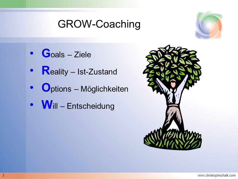 www.christophschalk.com 3 GROW-Coaching G oals – Ziele R eality – Ist-Zustand O ptions – Möglichkeiten W ill – Entscheidung