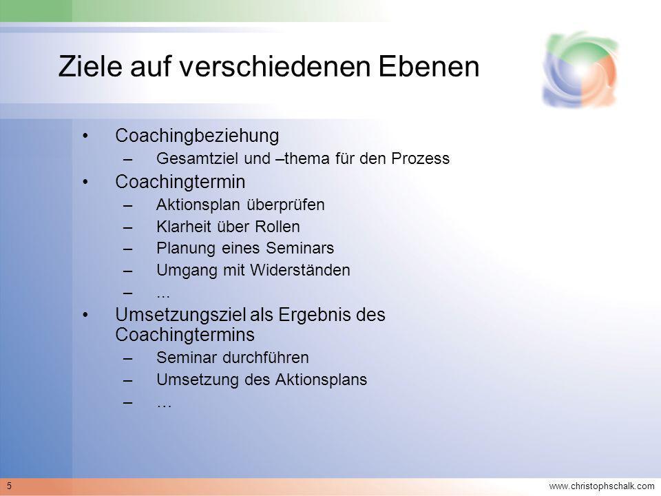 www.christophschalk.com 5 Ziele auf verschiedenen Ebenen Coachingbeziehung –Gesamtziel und –thema für den Prozess Coachingtermin –Aktionsplan überprüf
