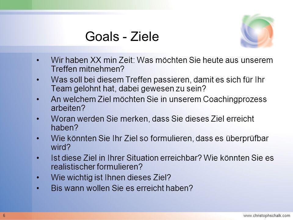 www.christophschalk.com 7 Methodik - Ziele Kleine Gruppen –Erwartungen und Ziele gemeinsam auf einem Flipchart sammeln –Coach stellt ggf.