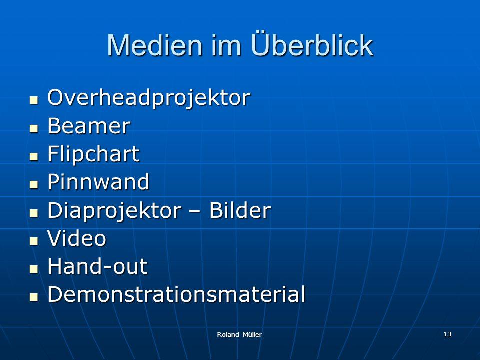 Roland Müller 13 Medien im Überblick Overheadprojektor Overheadprojektor Beamer Beamer Flipchart Flipchart Pinnwand Pinnwand Diaprojektor – Bilder Dia