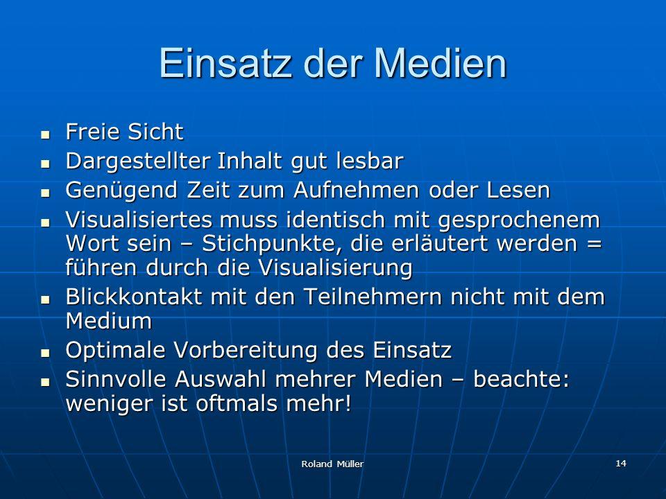 Roland Müller 14 Einsatz der Medien Freie Sicht Freie Sicht Dargestellter Inhalt gut lesbar Dargestellter Inhalt gut lesbar Genügend Zeit zum Aufnehme